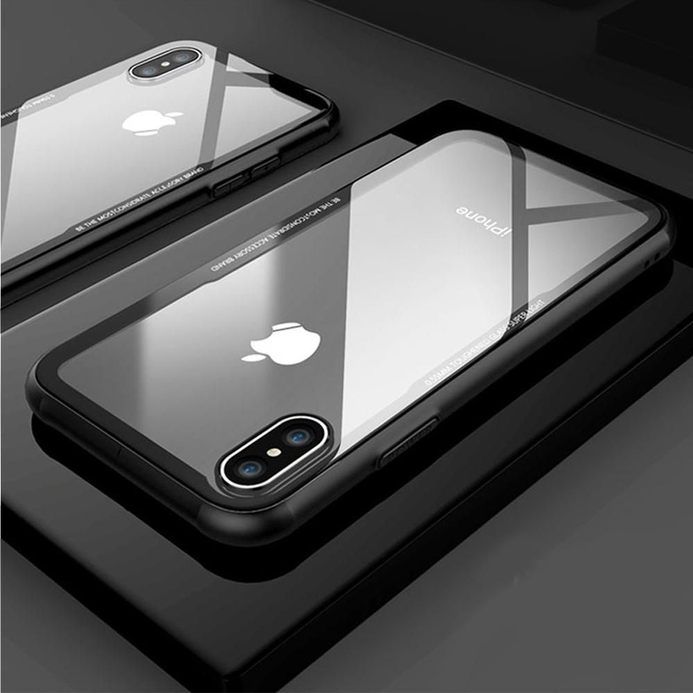 Floveme Tempered Glass Case For Iphone X Iphone 8 7 Plus Phone Cases Luxury Ultra Thin Trans Iphone Tempered Glass Tempered Glass Iphone Transparent Phone Case