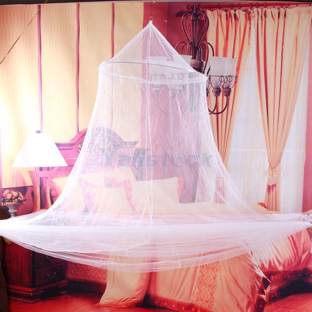 New Round Corner Post Bed White Canopy Mosquito Net Full