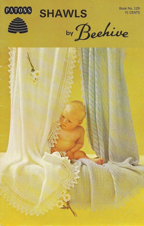 Garter Shawl  Eyelet Shawl  1950s Baby Knit Lace Christening Baptism Afghan Pattern  Vinta Garter Shawl  Eyelet Shawl  1950s Baby Knit Lace Christening Baptism Afghan Pat...