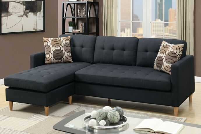 Lovely 2 Pc Leta Collection Black Polyfiber Fabric Upholstered Apartment Size  Sectionalu2026