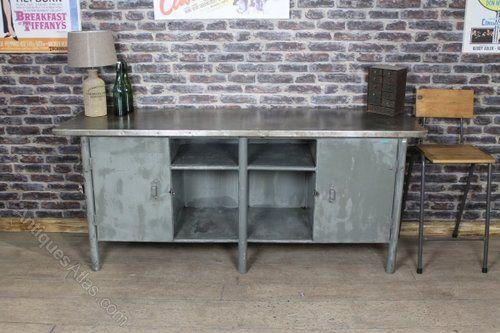 Industrial Metal Sideboard Vintage Cabinet Industrial