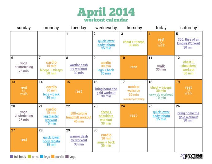 April Workout Calendar  Days Of Spring Fitness This April