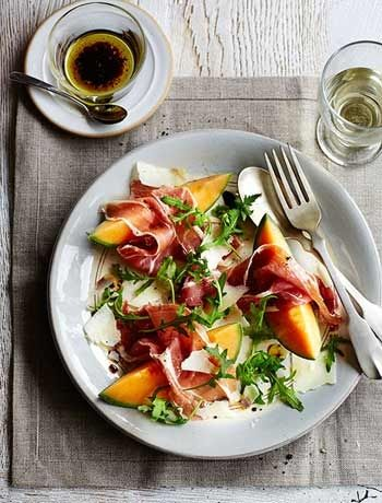 Easter starters including melon prosciutto and pecorino salad melon prosciutto and pecorino salad recipes good food channel forumfinder Choice Image
