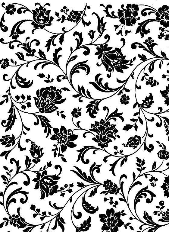 Flores negras fondo blanco | Papeles Decorativo FLORES | Pinterest ...