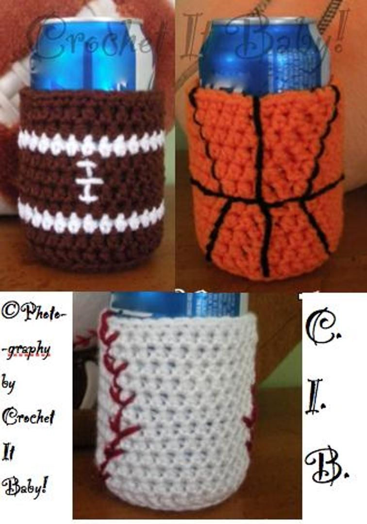 Sports Can Coozie | Crochet, Patterns and Crochet cup cozy