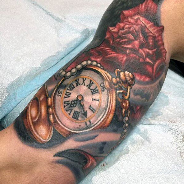 54d6fe497e347 200 Meaningful Pocket Watch Tattoos (Ultimate Guide 2019)   tattoo ...