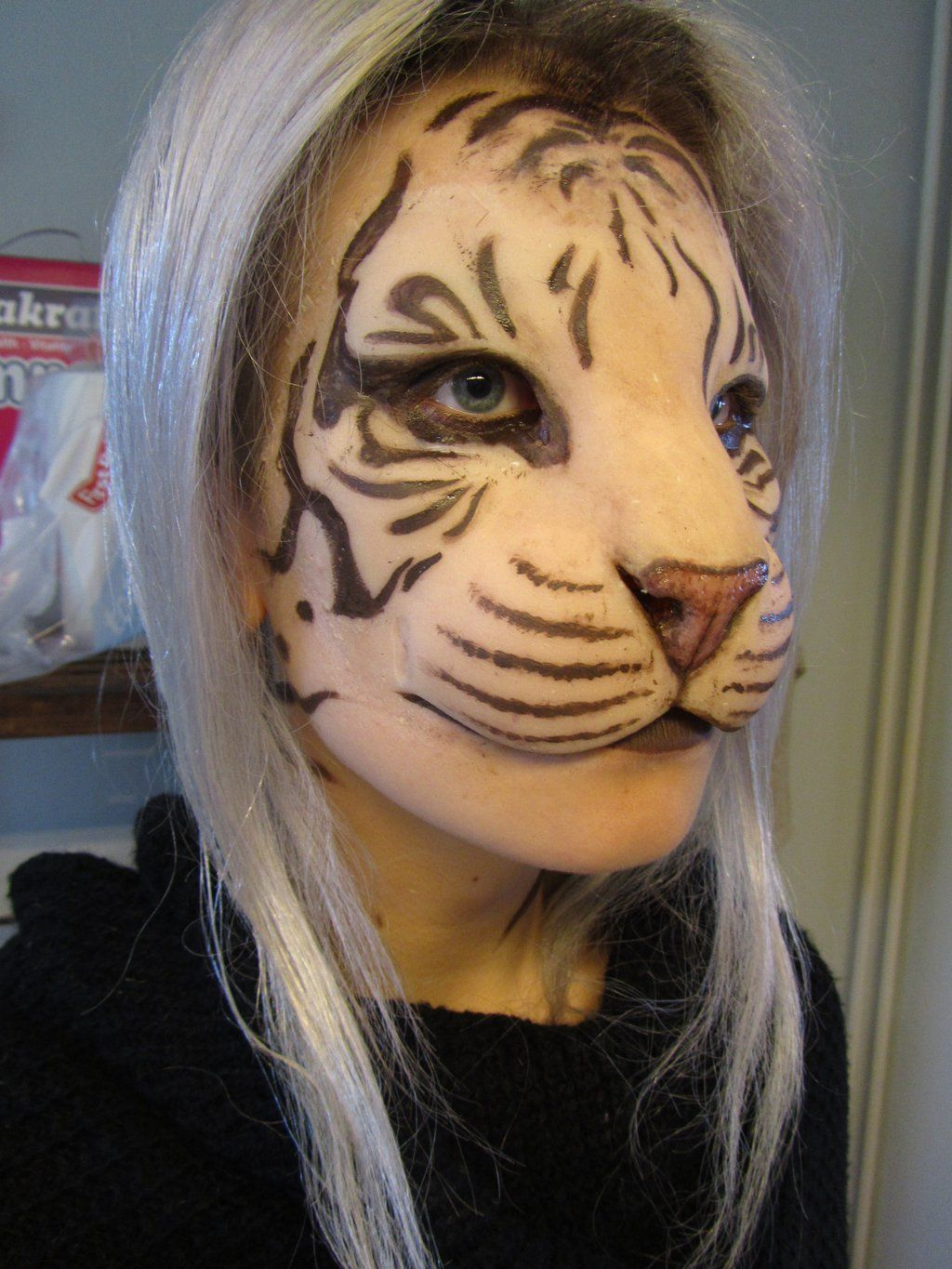 Humantiger hybrid mask test by puzzelsviantart on