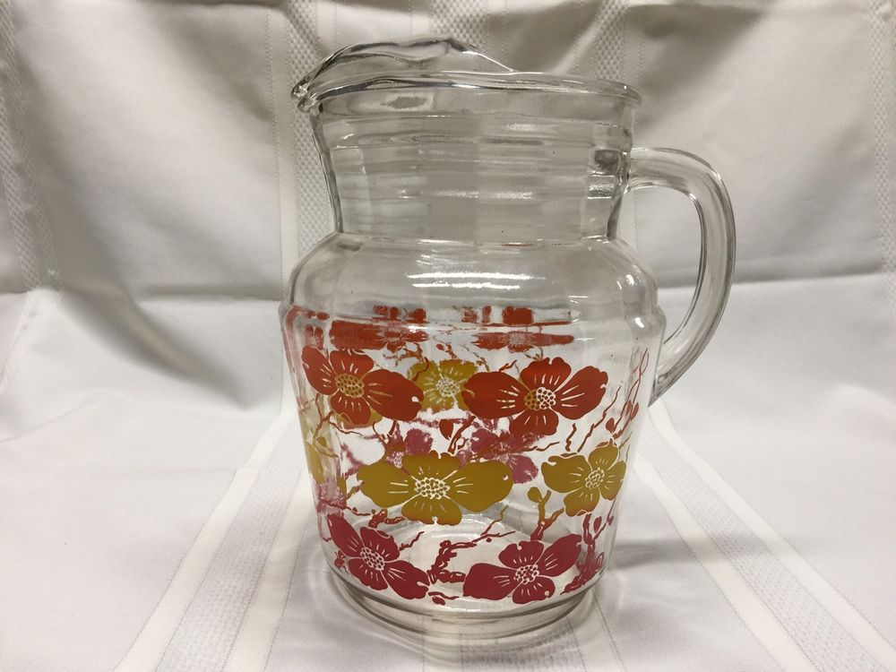 Vintage Glass Water Ice Lip Pitcher Red Yellow Orange Flower Floral Swanky Retro Vintage Glass Pitchers Glass Glass Tea