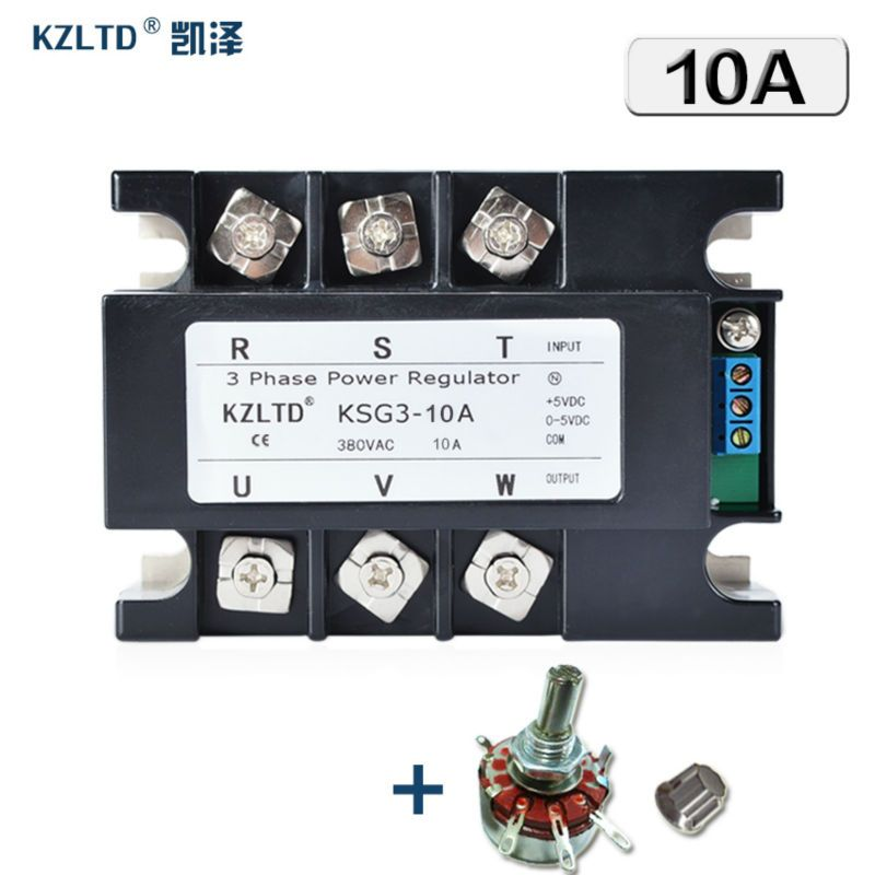 KZLTD Three Phase Solid State Relay SSR 10A 420MA 05V to 380V AC
