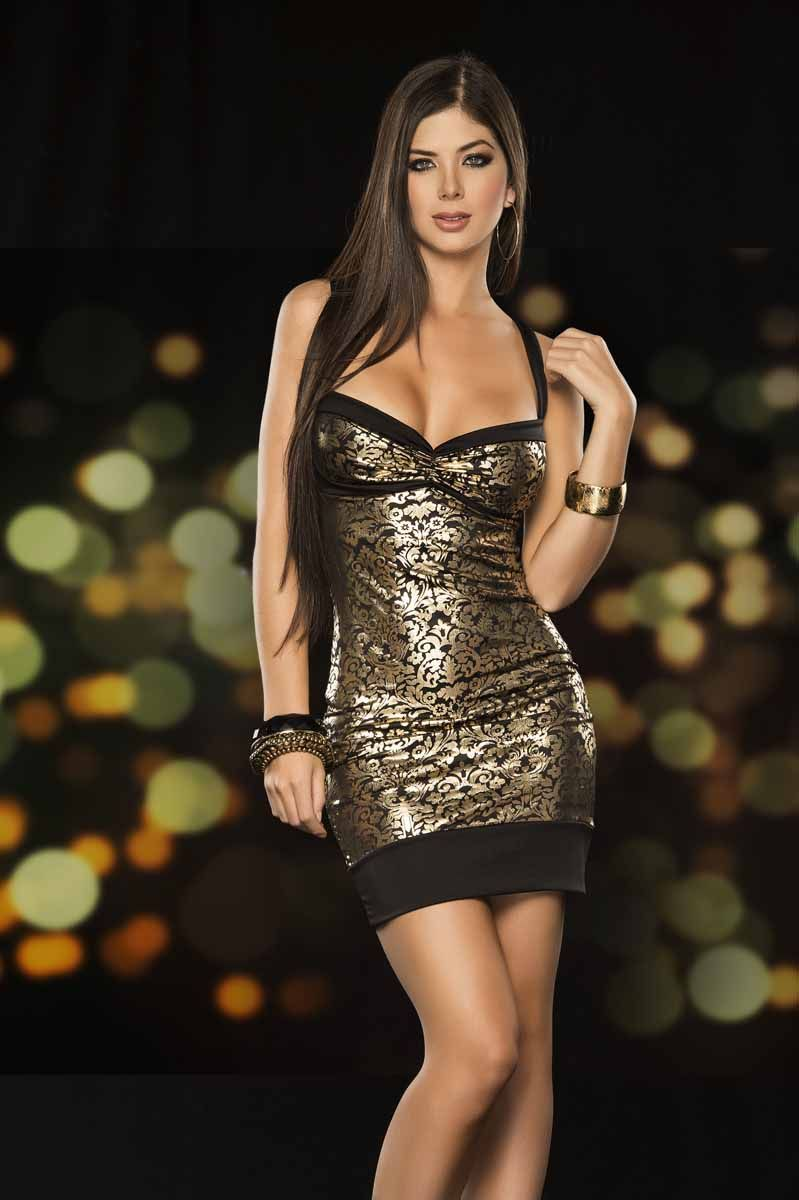 Black and Gold Sleeveless Mini Dress with a Foil Filigree   Hot ...