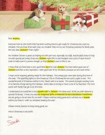 EzsantalettersCom  Santa Letter For Child With A Pet  Santa
