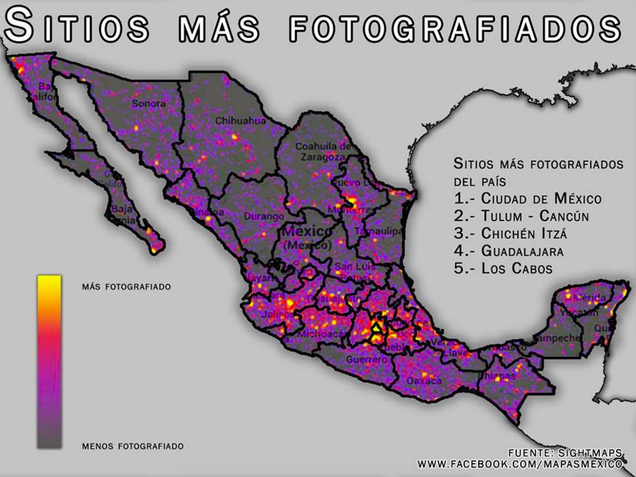 Tulum es el segundo lugar más fotografiado del país. | 16 Mapas honestos que cambiarán tu percepción de México