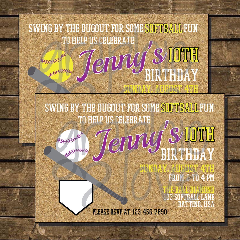fastpitch softball or baseball ball diamond birthday invitation