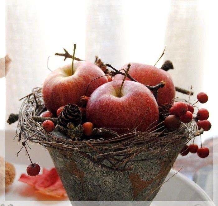 Mit pfel sunflowers pinterest herbst roter apfel for Apfel basteln herbst