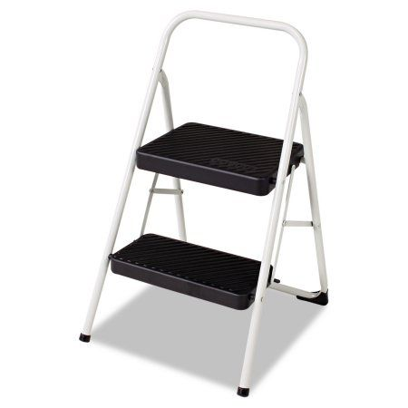 Cosco 2-Step Folding Steel Step Stool, 200lbs, 17 3/8w x 18d x 28 1/8h, Cool Gray, Multicolor