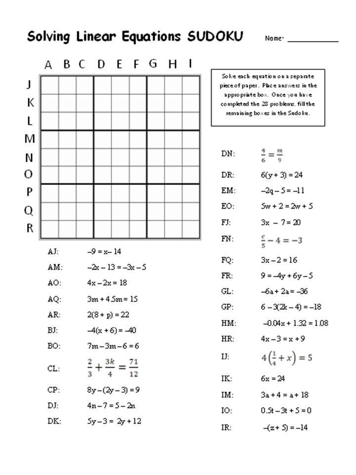 Solving Equations Puzzle Worksheet Timakuleshov Math Stuff Math School Teaching Mathematics Solving Linear Equations
