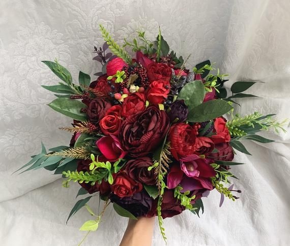 Wedding Bouquet Burgundy Red Berries Navy Red Peony Eucalyptus Wedding Maroon Package Artificial Flo