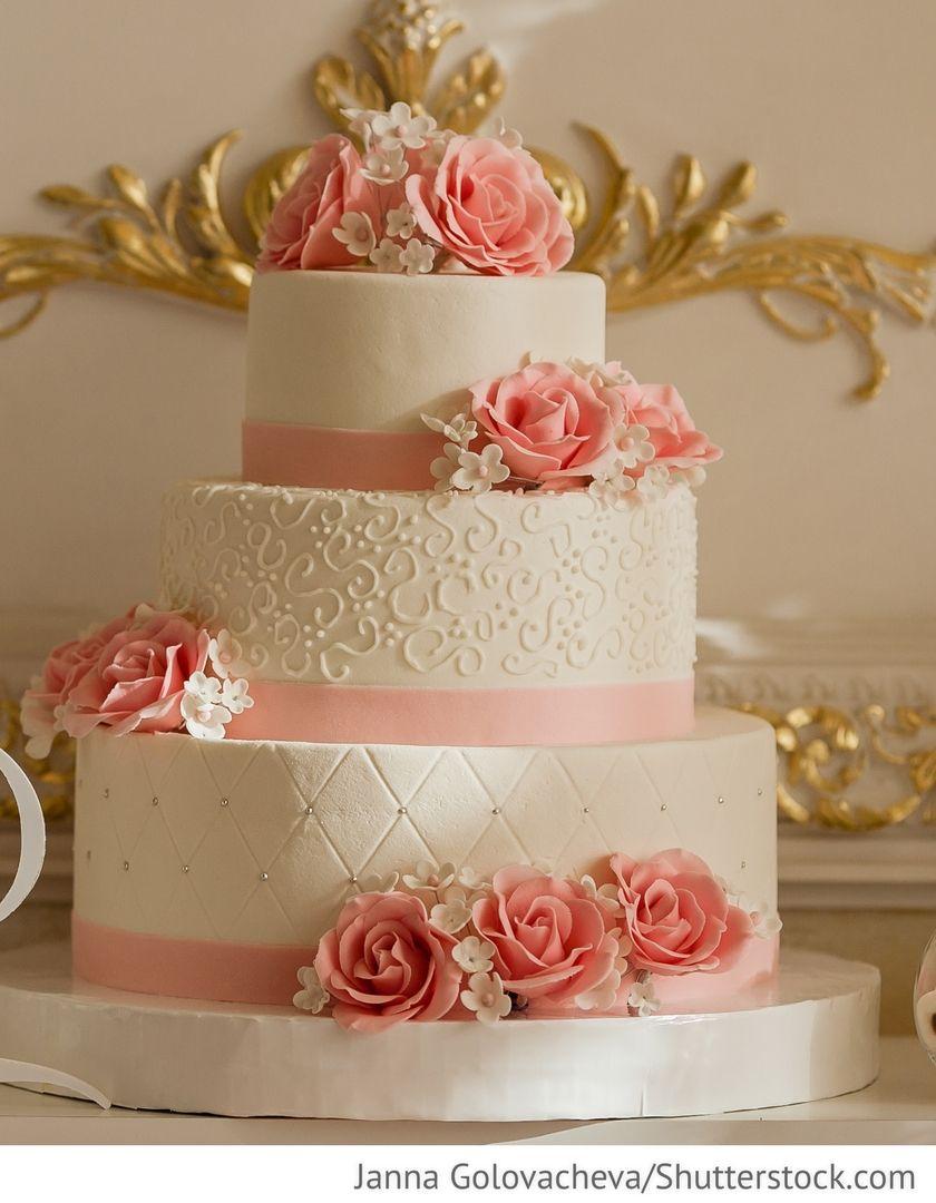 Hochzeitstorte 3 stckig mit rosa Rosen fr Hochzeit