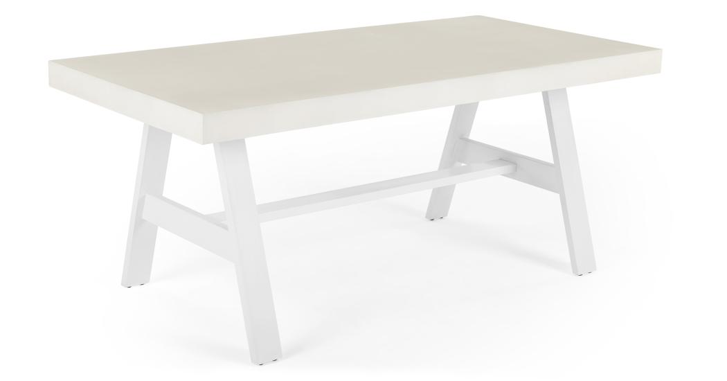 Edson Grande Table D Exterieur Ciment Clair Et Metal Blanc Grosser Esstisch Gartentisch Esstisch