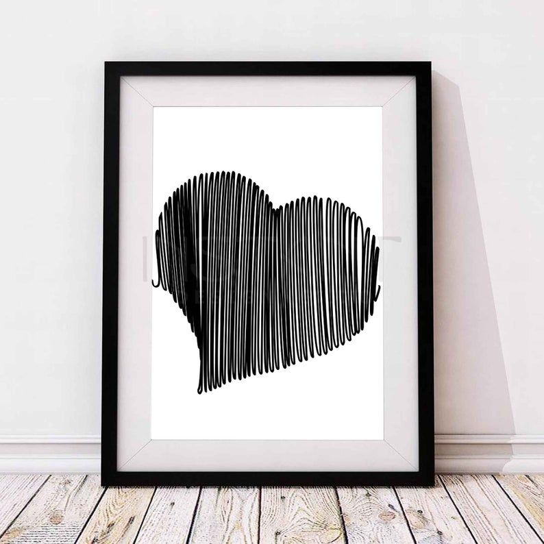 Scribble Modern Love Heart Line Drawing Doodle Print Wall Art Poster Printable One Line Calming Minimalist Digital Poster Wall Art Wall Art Prints Doodle Wall