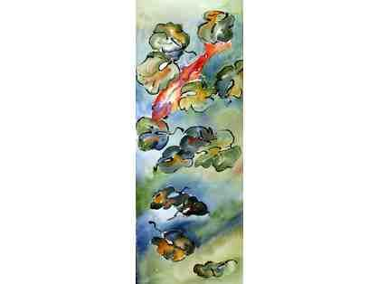 """""""Koi"""" by Mary Ruedig, Framed Watercolor on Archers. Almost three feet tall, it is a stunning piece. Bid now!"""