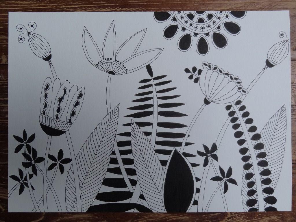 Dessin graphique noir et blanc fleurs sauvages a4 dessins par fleur de pluie dessins de - Dessin de fleur en noir et blanc ...