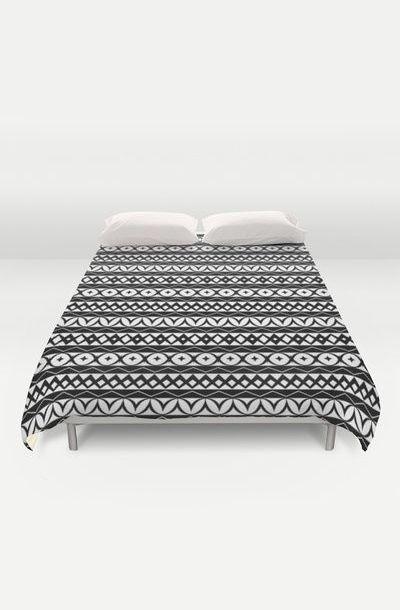 Fair Isle Black & White Duvet Cover by Rachel Follett | Textiles ...