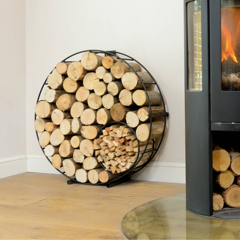 Circular Round Metal Log And Kindling Holder Log Holder Circular Great Wedding Presents