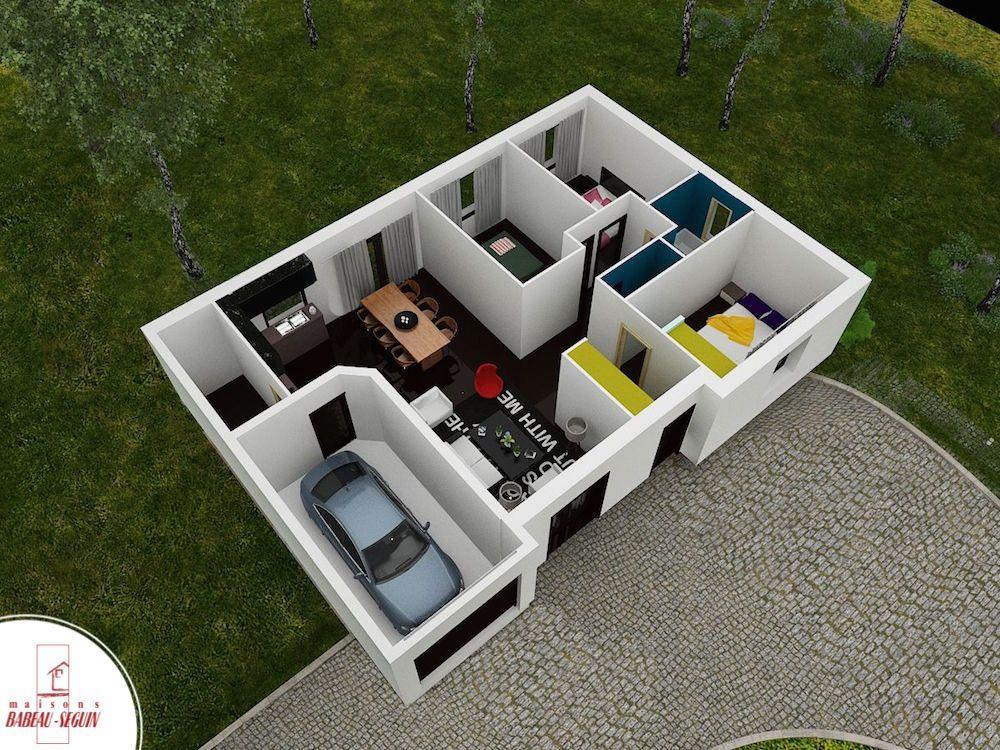 Exemple de plan 3D du0027une maison de plain pied avec 2 chambres +