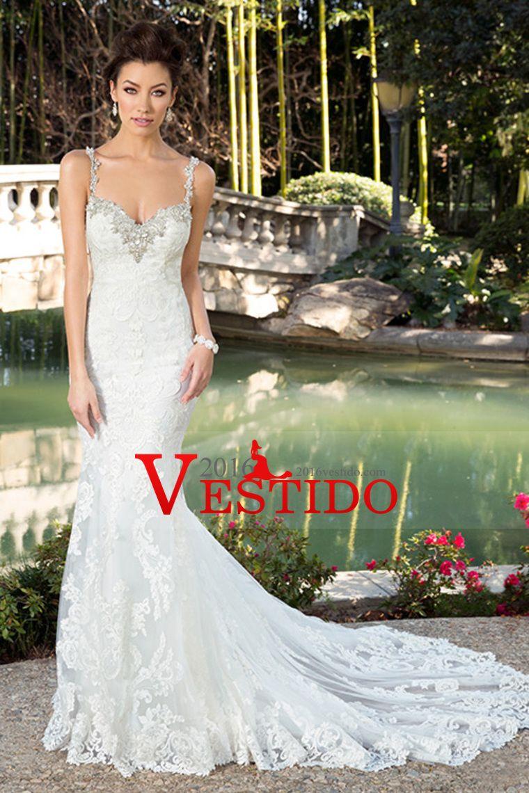 2016 vestidos de boda de las correas de espagueti de la sirena de ...