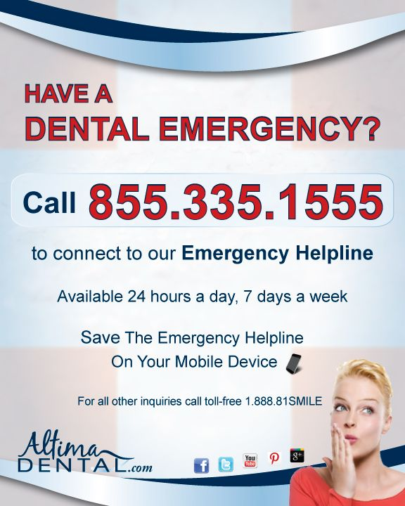 Save our Dental Emergency Helpline Number on your mobile phone now, so you're always ready! 855-335-1555 #dentalemergency #beprepared