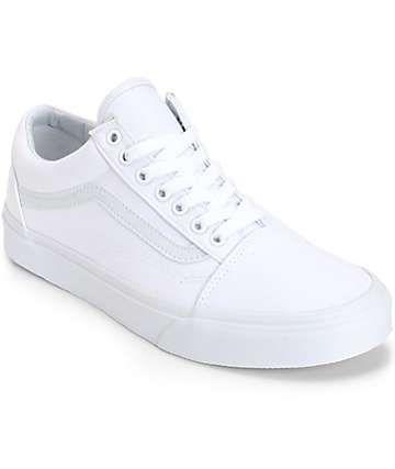 Vans Old Skool Mono White Skate Shoes  4a0b89261d