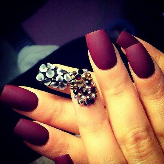 nails gorgeous cranberry matte