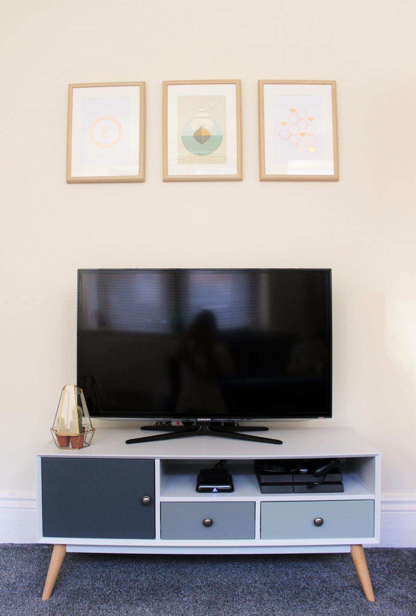 Living Room Makeover Retro Tv Stand Cabinet Unit Grey