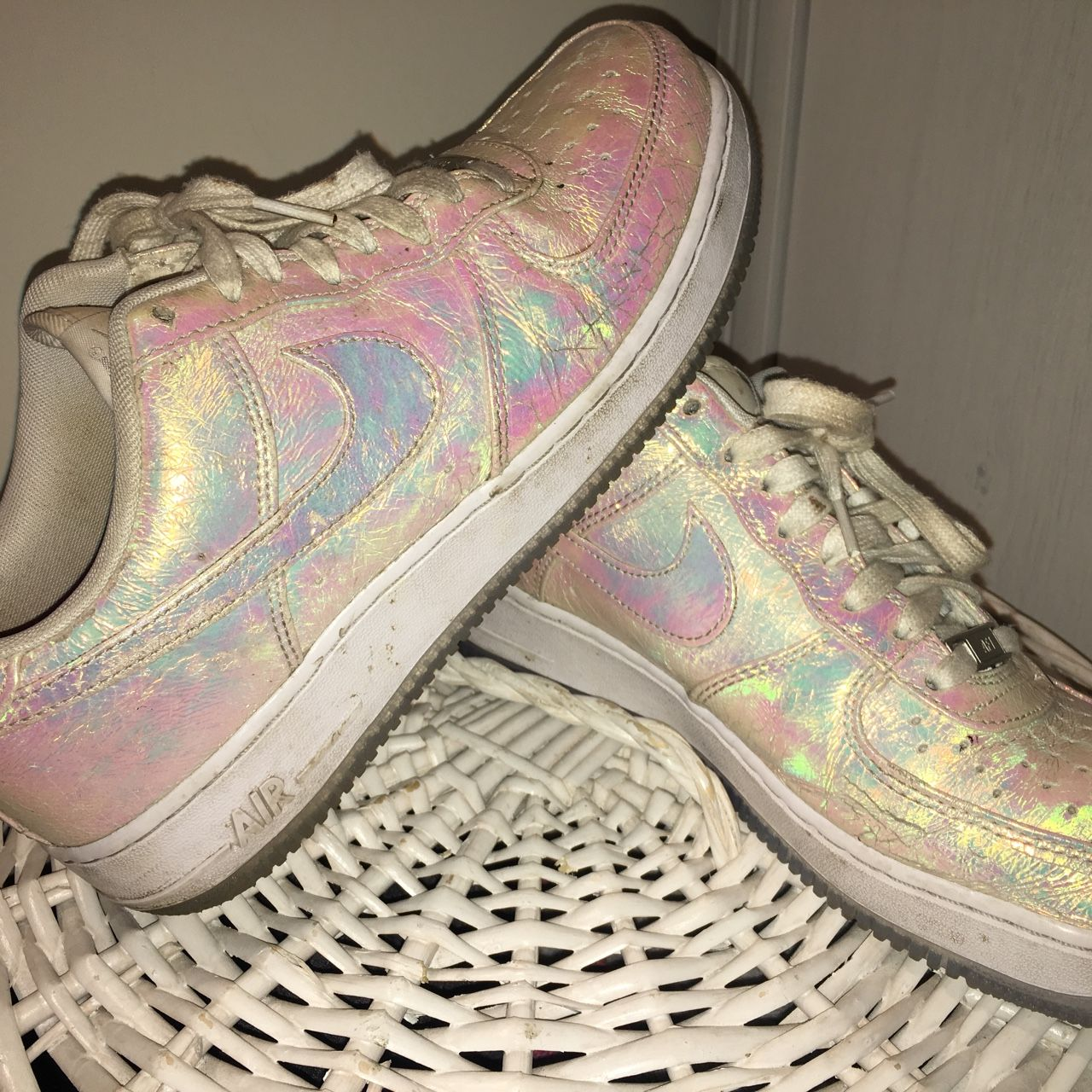 ✨✨Holographic Nikes ✨✨ in great condition one small tear on right shoe as  shown in photo 💖 c70682247