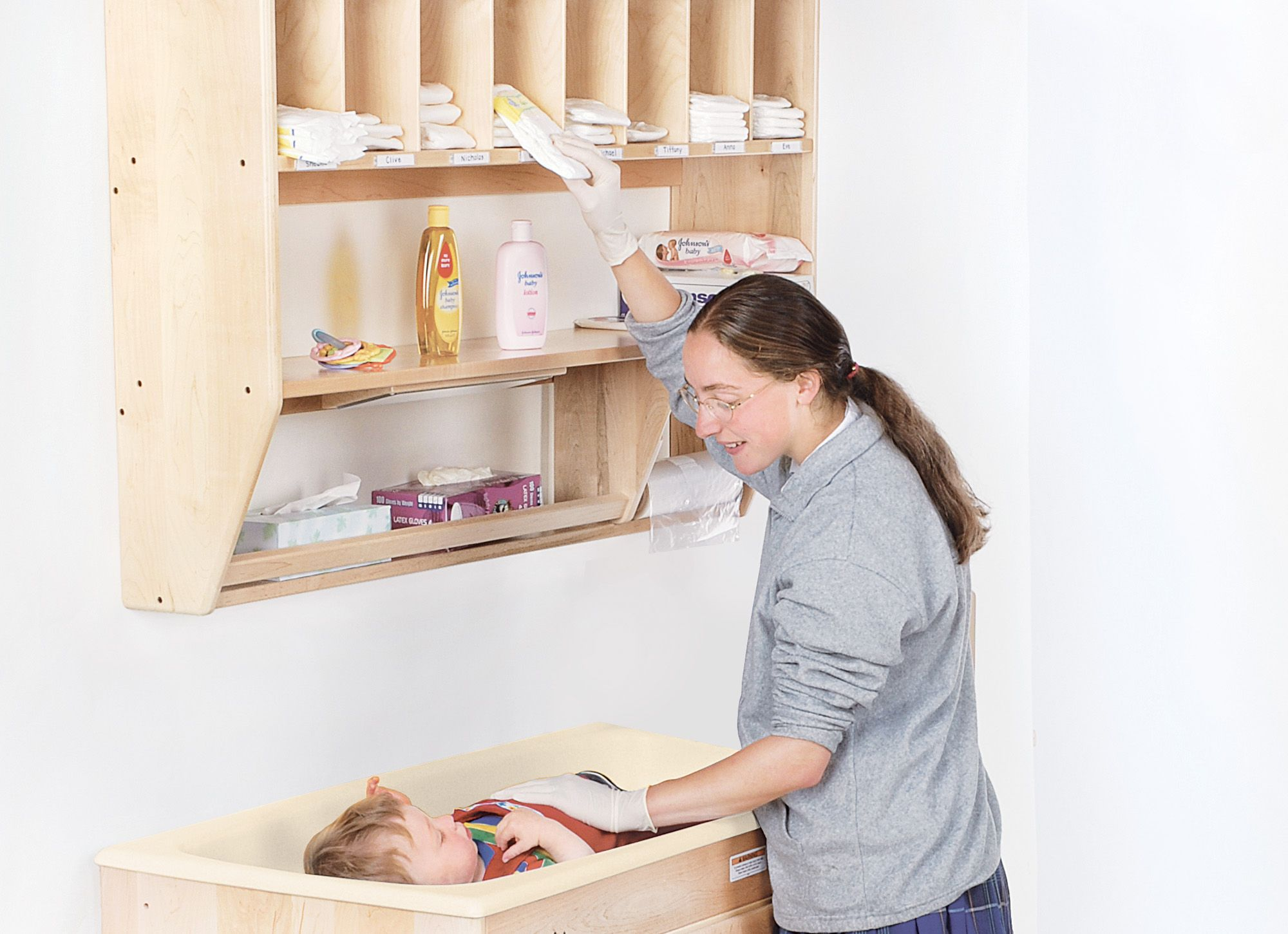 Changing Table With Steps Protects Your Back As Toddlers Can Climb The Steps  Themselves