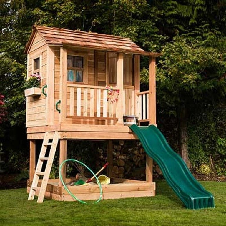 Two story playhouse with a tent ideas for the house for Outdoor clubhouse plans