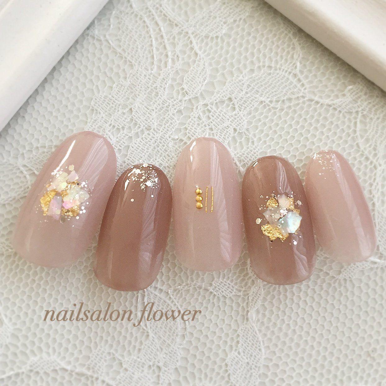 春/夏/ハンド/ベージュ/ピンク , nailsalon flowerのネイル