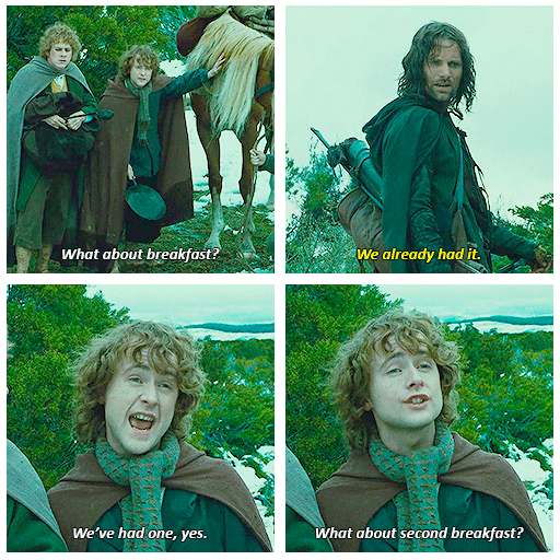 second breakfast   The hobbit, Lord of the rings, Hobbit memes