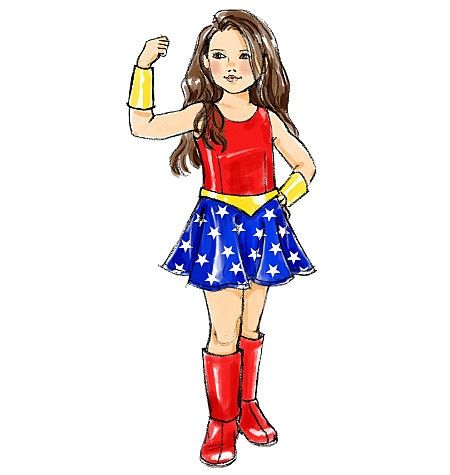 SEWING PATTERN McCallu0027s M5727 Girlu0027s WONDER WOMAN u0026 SUPER GIRL COSTUMES sz 7-14  sc 1 st  Pinterest & Wonder Woman Costume Pattern | Sewing Pattern McCalls M5727 Girls ...