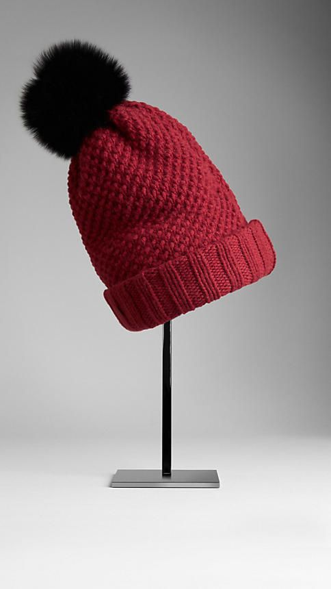 0512b0f6d14 Burberry Fur pompom wool and cashmere-blend hat (€285) ❤ liked on Polyvore  featuring accessories