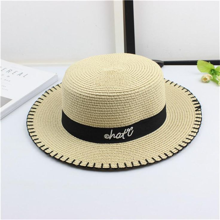 2018 Spring Summer Sun Caps Juzz Hat Bowler Ribbon Round Flat Top Straw Beach Panama Hat For Men Women Straw Hats Snapback  Products