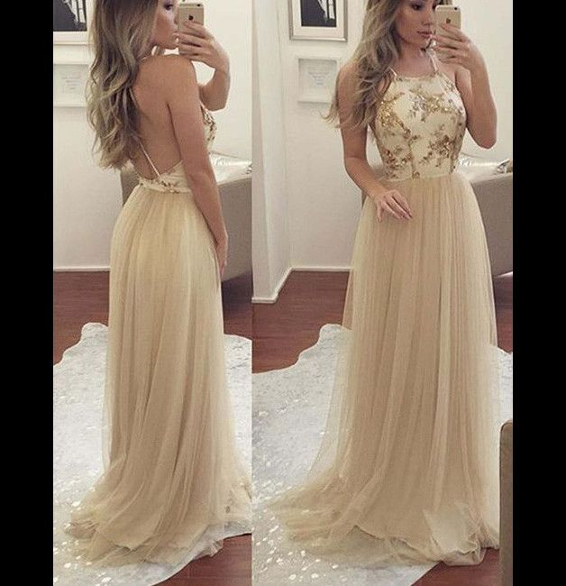 Einfach Rückenfrei Champagner Tüll Ball Abendkleid | Prom, Nice ...