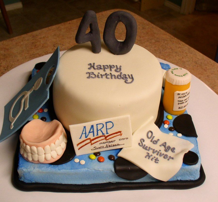 40th over the hill cake with images over the hill