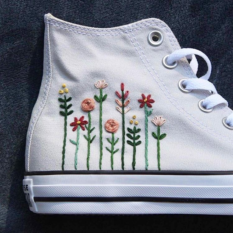 Converse Embroidery Is Always A Good Idea Via Shoes By Wu Dmcembroidery Dmcthreads Embroiderylove C Embroidery Shoes Embroidered Shoes Floral Converse