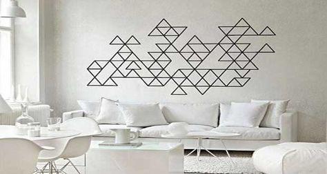 d co graphique et g om trique pour murs et meubles diy tape wall art triangle wall et tape wall. Black Bedroom Furniture Sets. Home Design Ideas