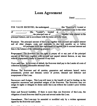 Loan Agreement Form  Loan Agreement Form    Gardens