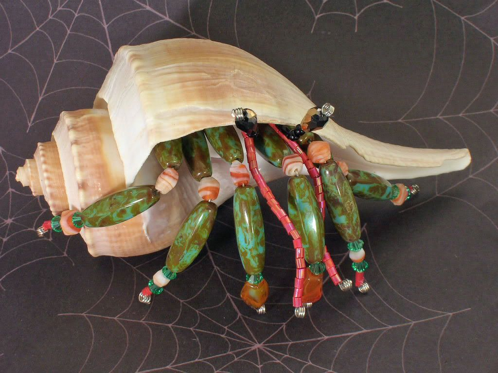 Tropical Hermit Crab Sea Shell Snail Figurine Knick Knack Pet ...