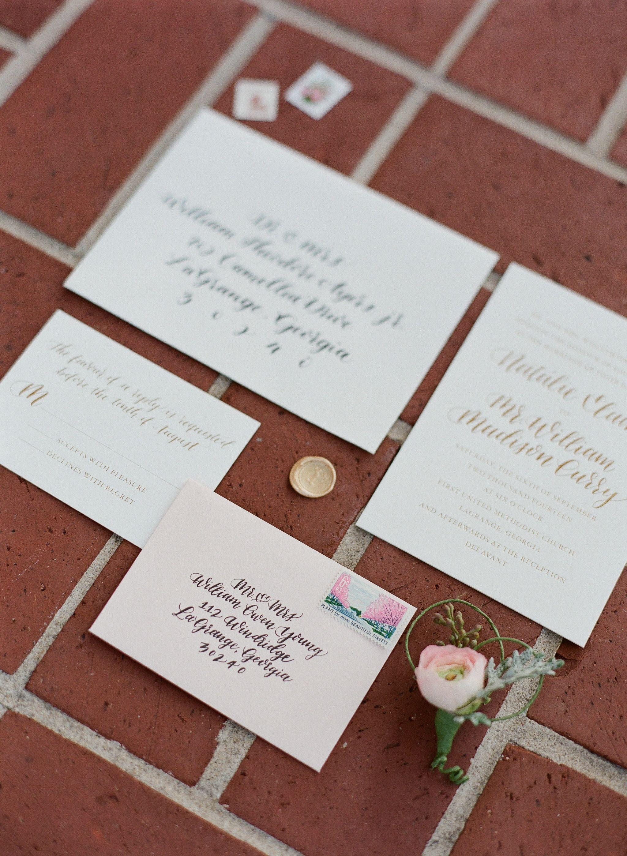 wedding invitations atlanta%0A Custom wedding suite by Ashley Buzzy Lettering   Press