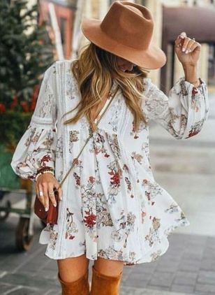 Photo of Casual Short Sleeve Flowers Knee Length Dresses – Flory …